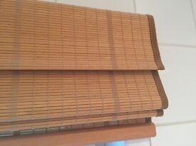 Wooden roman blind Bracken Blinds Teak side cord mechanised system