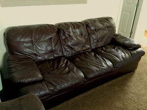 Leather Brown 3 Seater Sofa FOR SALE