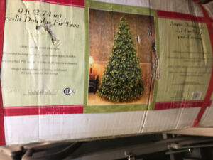 9 ft pre-lit artificial Christmas tree