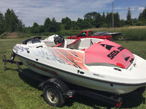 1998 16FT SEA DOO SPEEDSTER TWIN ENGINE TRAILER INCLUDED