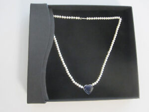 NEW 14K WHITE GOLD SAPPHIRE AND PEARL NECKLACE