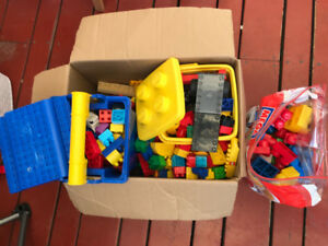 Box of Duplo and Mega Blocks