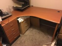 Office computer corner desk including drawers and cabinet