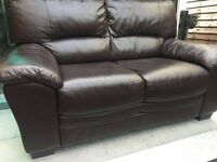 Reids 2 & 2 full dark brown leather sofa set - can deliver