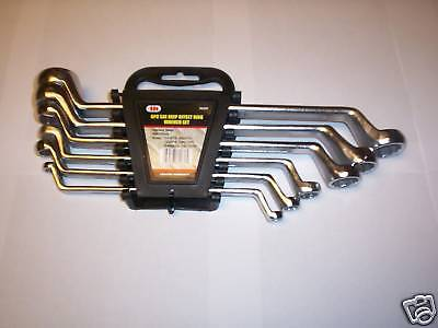 6pc ILLINOIS INDUSTRIAL DEEP OFFSET DOUBLE BOX END RING WRENCH SET METRIC 84270 ()