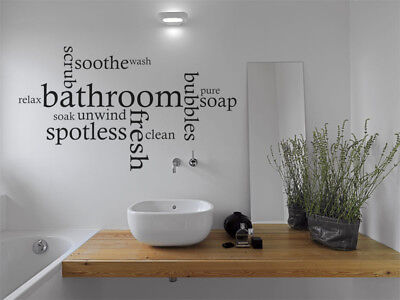 Bathroom Wall Quote Word Cloud, Wall Art Sticker, Decal, Modern Transfer, Tattoo