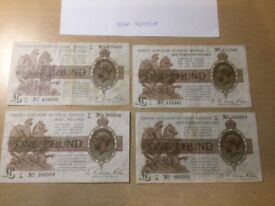 Very old 1920s £1 British Banknotes