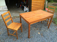Small wooden table with 2 chairs