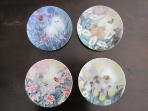 4 Collector Plates - Kittens in Garden