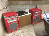 Pair of red speakers