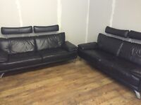 Genuine black leather 2 x 3 seater sofa's from dfs