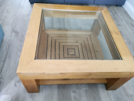 M&S solid oak and glass coffee table