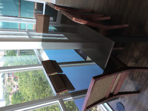 Glass table and dining chairs