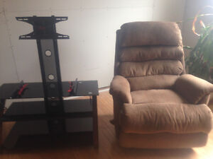 RECLINER AND TV STAND FOR 300.00 (306) 216 5494