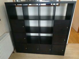 Bookcase Ikea KALLAX Black 16 inserts (8 with doors) Shelving unit, 147x147 cm