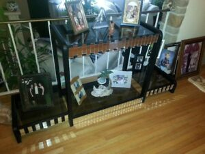 3 shelf black with mirrors table great for family pictures