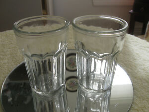 PAIR MATCHING OLD VINTAGE CLEAR GLASS JUICE GLASSES