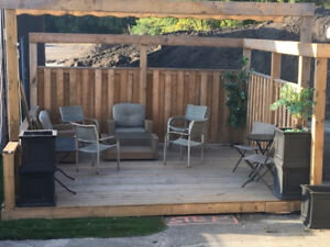 Wooden Patio Deck 15ftx15ft plus Privacy Fence
