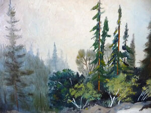 "Algonquin, Original Oil Painting by R. Dogger ""Wild River"" 1950 Stratford Kitchener Area image 3"