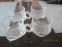 VERY OLD GLASS SERVING TRAYS WITH MATCHING MUGS