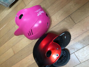2 baseball helmets