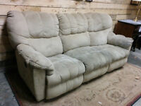 Dual Reclining Tan Microfiber Couch - Delivery Available