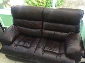 Recliner brown leather two seater sofa