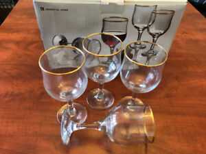 Essential Home  Gold Band Wine Glass  - New