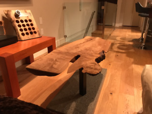 Live edge coffee table with polished concrete base