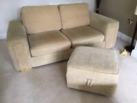 Two seater Chenille sofa and footstool