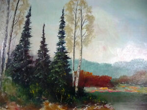 "Original Painting by Listed Artist Ernest Burrows ""Fishing Hole"" Stratford Kitchener Area image 3"
