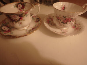 Two Royal Albert Bone China  Perfect Cups and Saucers LIKE  NEW