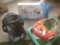 Rocker napped blue, baby walkers and car seat