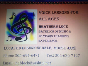 Voice Lessons for All Ages in Moose Jaw Moose Jaw Regina Area image 1