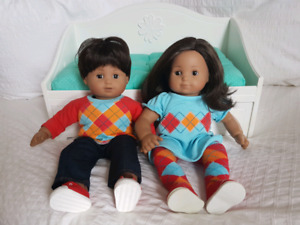 Itty Bitty Twin American Dolls, Trundle Bed and Outfits