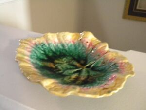 """ANTIQUE """"MAJOLICA"""" ETRUSCAN GRIFFIN SMITH & HILL BEGONIA LEAF DI"""