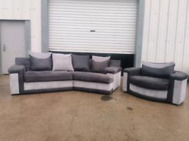 Grey fabric Corner sofa and Swivel cuddle chair 🚚🚚
