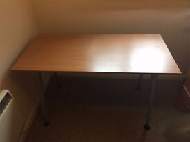 Desk with Wooden top on a metal frame