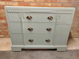 Stunning Fully Refurbished solid oak chest drawers in dovetail green