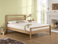 Small Wooden Double Bed (4ft wide) with Clean Comfy Mattress – Excellent Condition! [PRICE REDUCED]