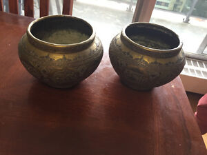 Brass, silver ,copper Persian vases 1851 ,matching pair