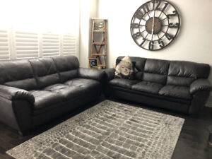Brown Leather Couches, 2 full size