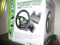 Racing Steering Wheel (23cm) and Pedals for XBOX 360 PS3 PC USB