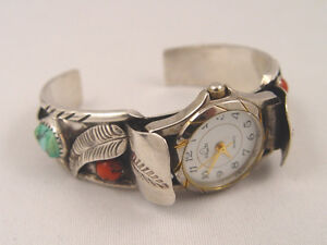 Native Sterling Silver Cuff Watch Band Turquoise Coral Stones