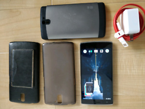 Oneplus one + dash charger + 3 cases (unlocked/dual sim)