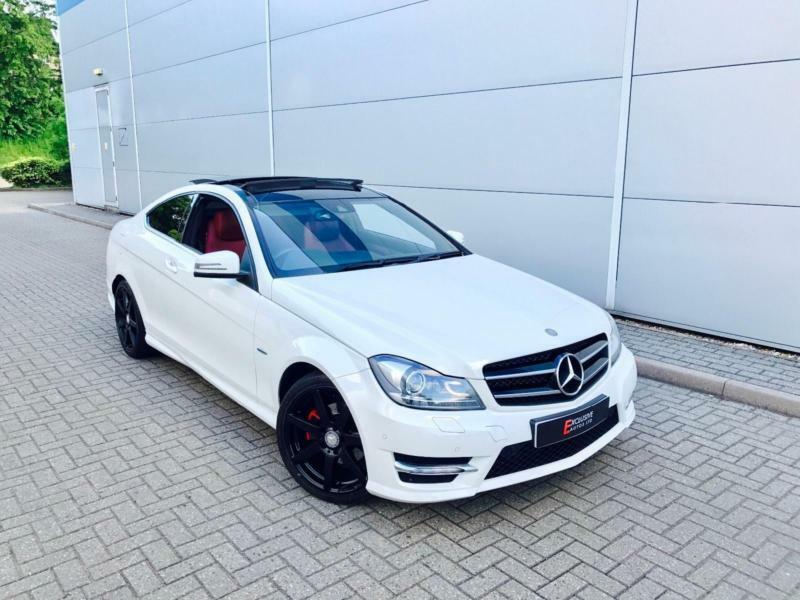 2011 61 mercedes benz c220 cdi amg sport coupe white + red leather