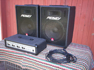 2-Peavey Speakers, Mixer Amplifier, Cables