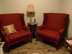 Two Large Wingback Chairs