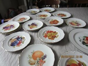 vintage fruit luncheon plates