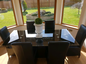 Black Glass Marble Dining table and 6 chairs